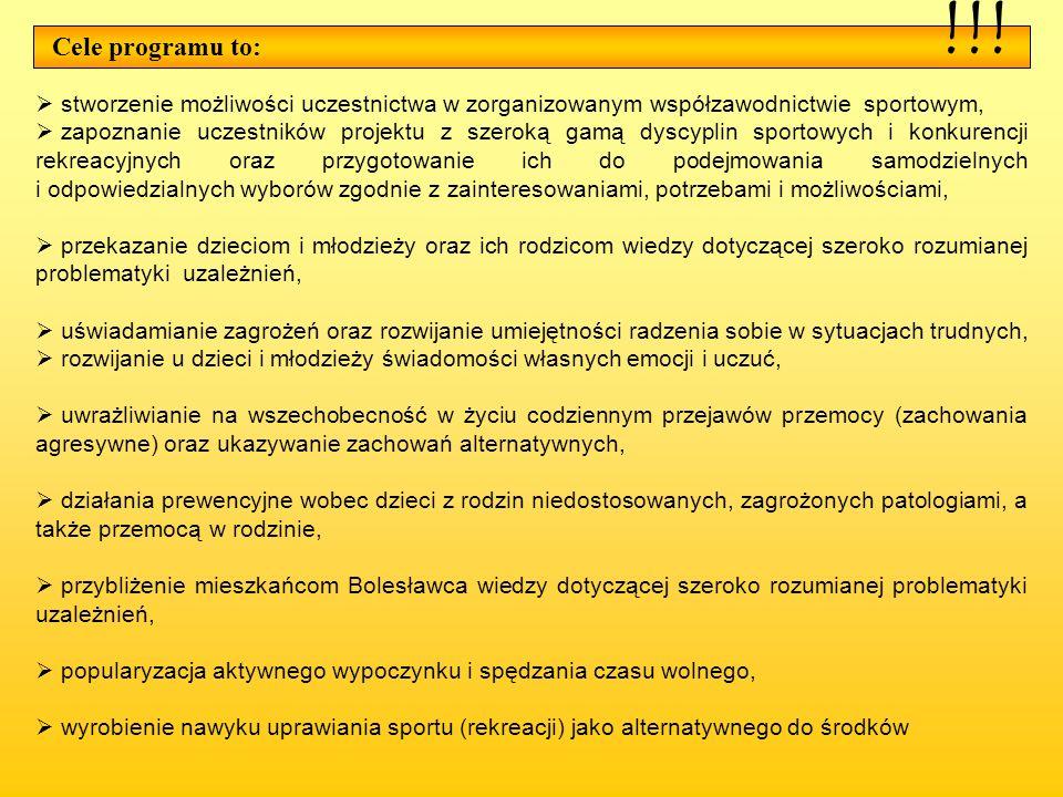 Cele programu to: stworzenie możliwości uczestnictwa w zorganizowanym współzawodnictwie sportowym, zapoznanie uczestników projektu z szeroką gamą dysc