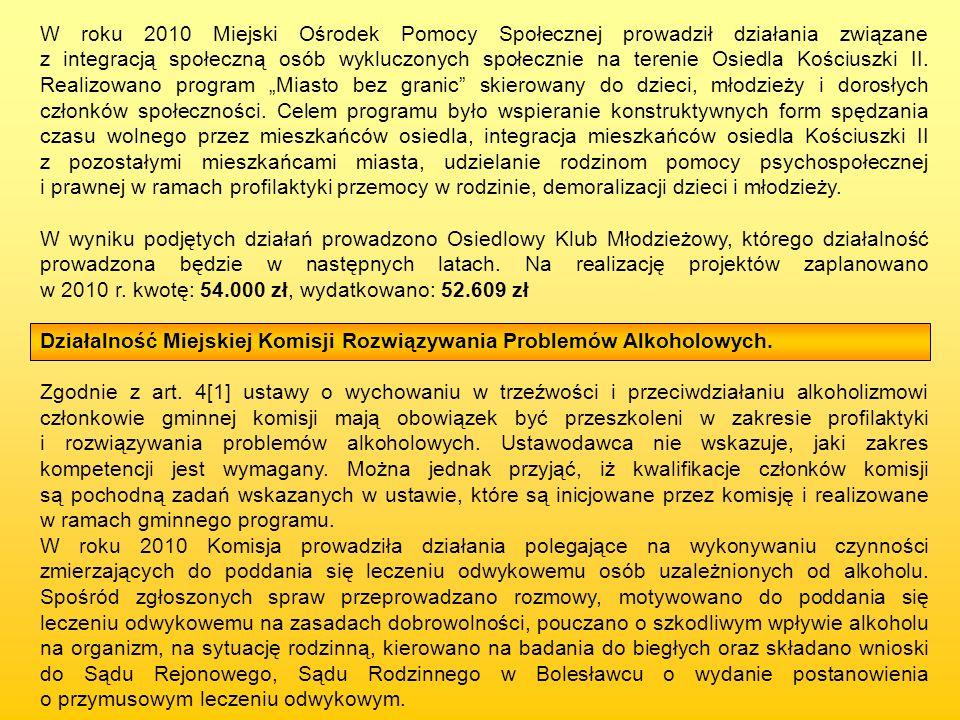 W roku 2010 Miejski Ośrodek Pomocy Społecznej prowadził działania związane z integracją społeczną osób wykluczonych społecznie na terenie Osiedla Kośc