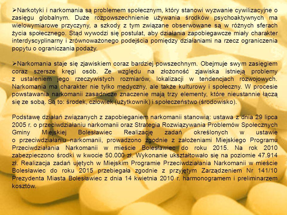 Narkotyki i narkomania są problemem społecznym, który stanowi wyzwanie cywilizacyjne o zasięgu globalnym. Duże rozpowszechnienie używania środków psyc