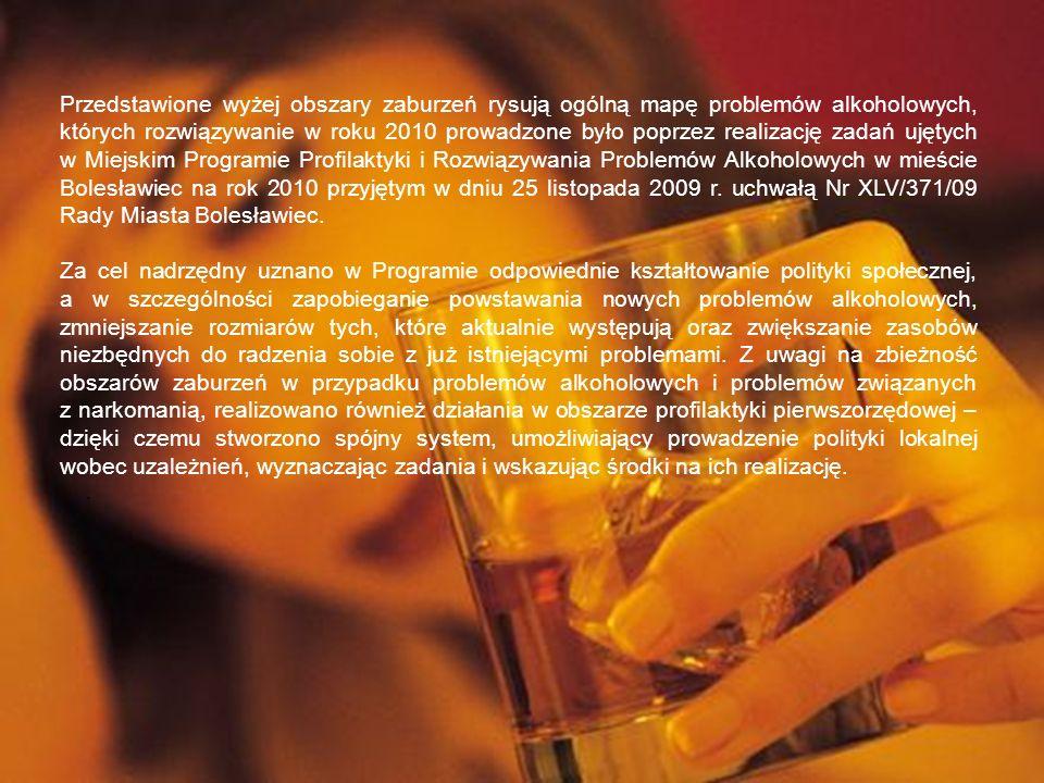 Przedstawione wyżej obszary zaburzeń rysują ogólną mapę problemów alkoholowych, których rozwiązywanie w roku 2010 prowadzone było poprzez realizację z