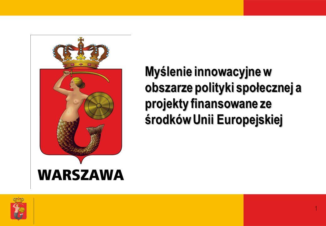 1 Myślenie innowacyjne w obszarze polityki społecznej a projekty finansowane ze środków Unii Europejskiej