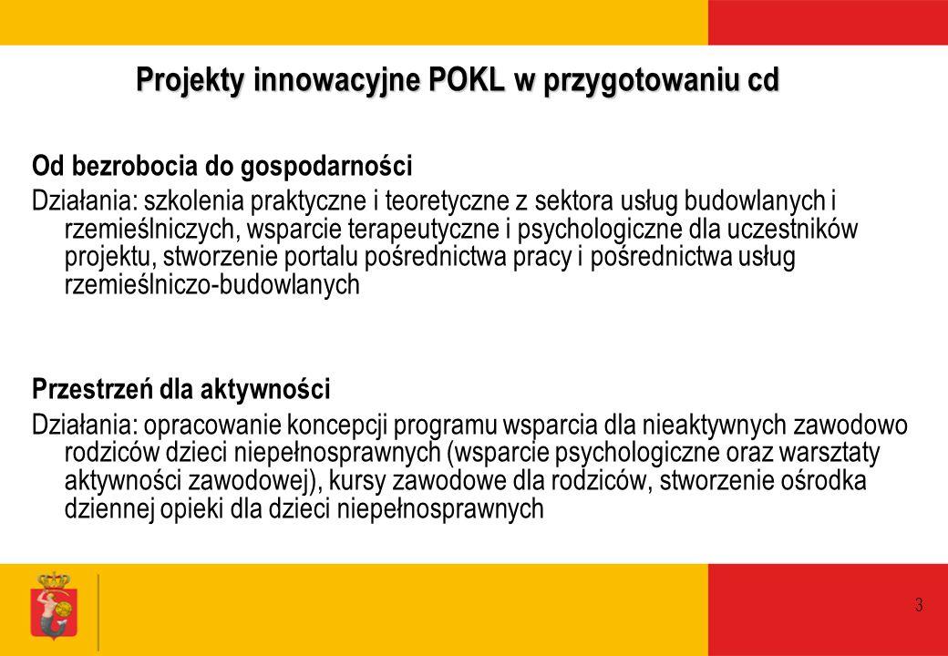 3 Projekty innowacyjne POKL w przygotowaniu cd Od bezrobocia do gospodarności Działania: szkolenia praktyczne i teoretyczne z sektora usług budowlanyc
