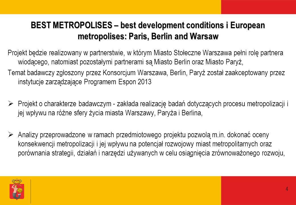 4 BEST METROPOLISES – best development conditions i European metropolises: Paris, Berlin and Warsaw Projekt będzie realizowany w partnerstwie, w który