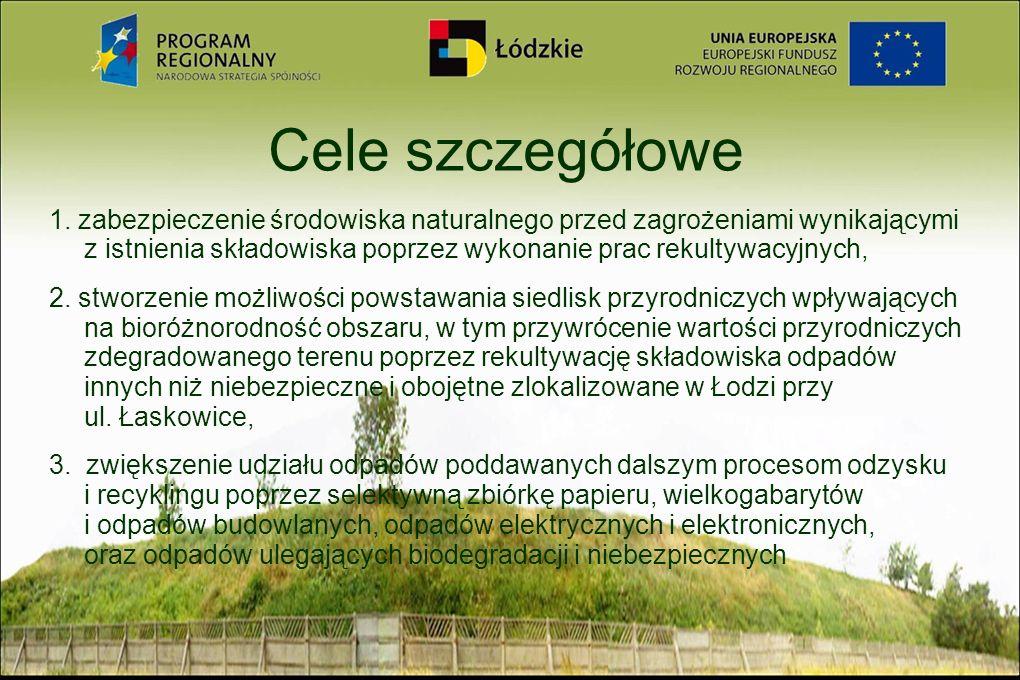 Cele szczegółowe 1. zabezpieczenie środowiska naturalnego przed zagrożeniami wynikającymi z istnienia składowiska poprzez wykonanie prac rekultywacyjn
