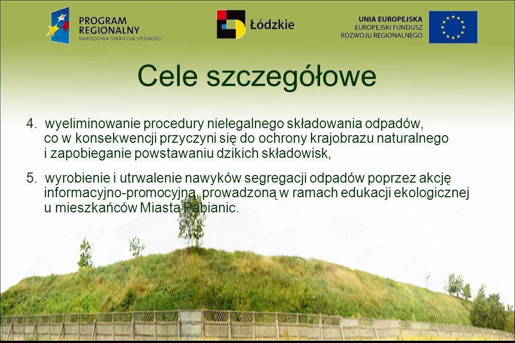 Cele szczegółowe 4. wyeliminowanie procedury nielegalnego składowania odpadów, co w konsekwencji przyczyni się do ochrony krajobrazu naturalnego i zap