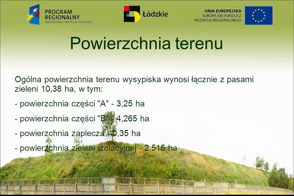 Powierzchnia terenu Ogólna powierzchnia terenu wysypiska wynosi łącznie z pasami zieleni 10,38 ha, w tym: - powierzchnia części