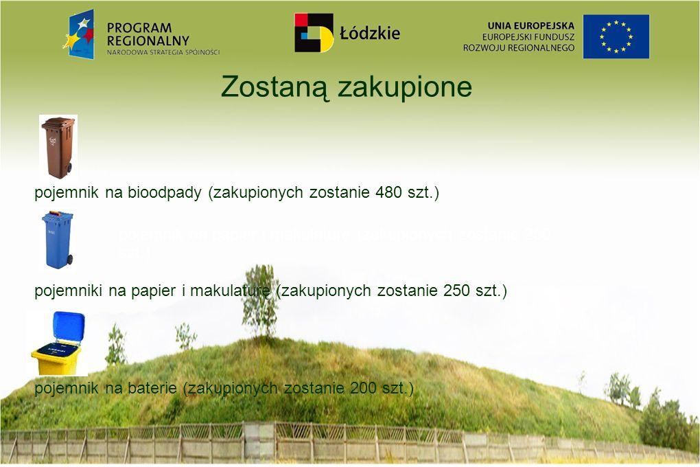 Zostaną zakupione pojemnik na bioodpady (zakupionych zostanie 480 szt.) pojemniki na papier i makulaturę (zakupionych zostanie 250 szt.) pojemnik na b