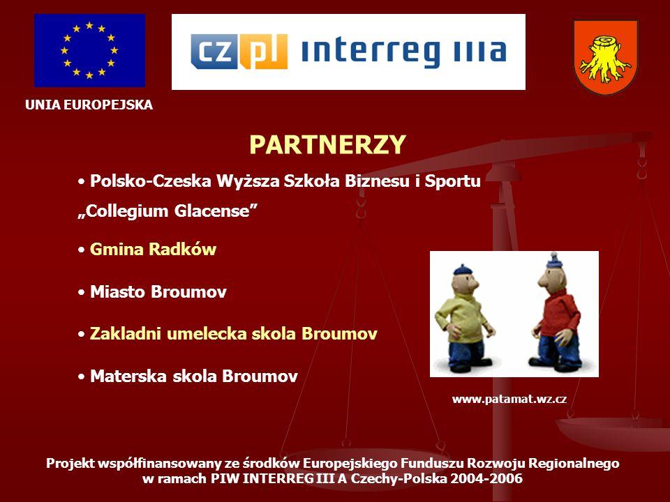 UNIA EUROPEJSKA Projekt współfinansowany ze środków Europejskiego Funduszu Rozwoju Regionalnego w ramach PIW INTERREG III A Czechy-Polska 2004-2006 ETAP 7 – PROMOCJA PROJEKTU Opracowanie i sukcesywne wydawanie materiałów promocyjnych związanych z projektem: wydanie folderu promującego projekt w 4 wersjach językowych przygotowanie prezentacji multimedialnej przygotowanie gadżetów promocyjnych