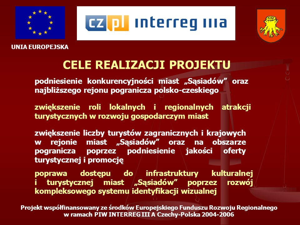 UNIA EUROPEJSKA Projekt współfinansowany ze środków Europejskiego Funduszu Rozwoju Regionalnego w ramach PIW INTERREG III A Czechy-Polska 2004-2006 ETAP 8 – ZAKOŃCZENIE REALIZACJI Podsumowanie realizacji projektu przez grupę roboczą, jego ocena, analiza oraz skonstruowanie założeń dla realizacji następnych edycji działań ujętych w projekcie.