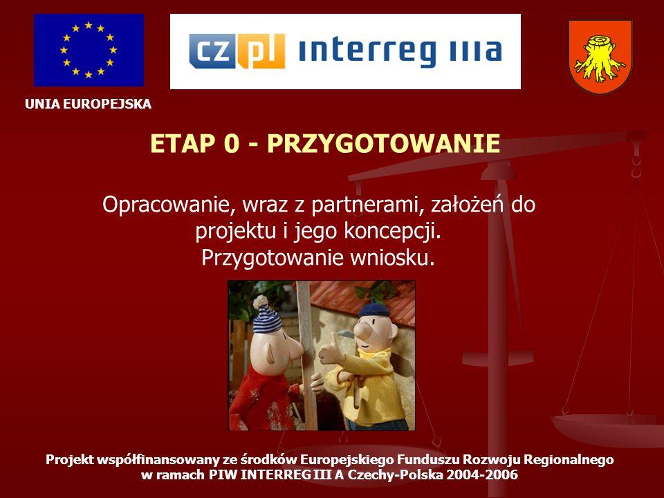 UNIA EUROPEJSKA Projekt współfinansowany ze środków Europejskiego Funduszu Rozwoju Regionalnego w ramach PIW INTERREG III A Czechy-Polska 2004-2006 ETAP 1 – ROZPOCZĘCIE REALIZACJI Powołanie wspólnej, składającej się z przedstawicieli wszystkich partnerów, grupy monitorującej projekt, ustalenie jej składu i zasad współpracy.