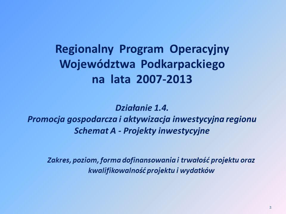 Regionalny Program Operacyjny Województwa Podkarpackiego na lata 2007-2013 Działanie 1.4. Promocja gospodarcza i aktywizacja inwestycyjna regionu Sche