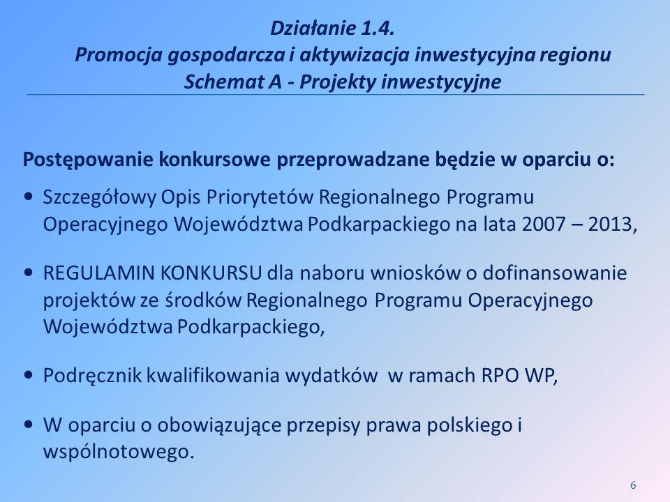 Działanie 1.4. Promocja gospodarcza i aktywizacja inwestycyjna regionu Schemat A - Projekty inwestycyjne Postępowanie konkursowe przeprowadzane będzie