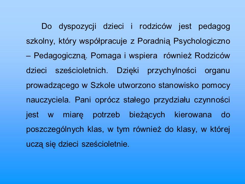 Do dyspozycji dzieci i rodziców jest pedagog szkolny, który współpracuje z Poradnią Psychologiczno – Pedagogiczną. Pomaga i wspiera również Rodziców d