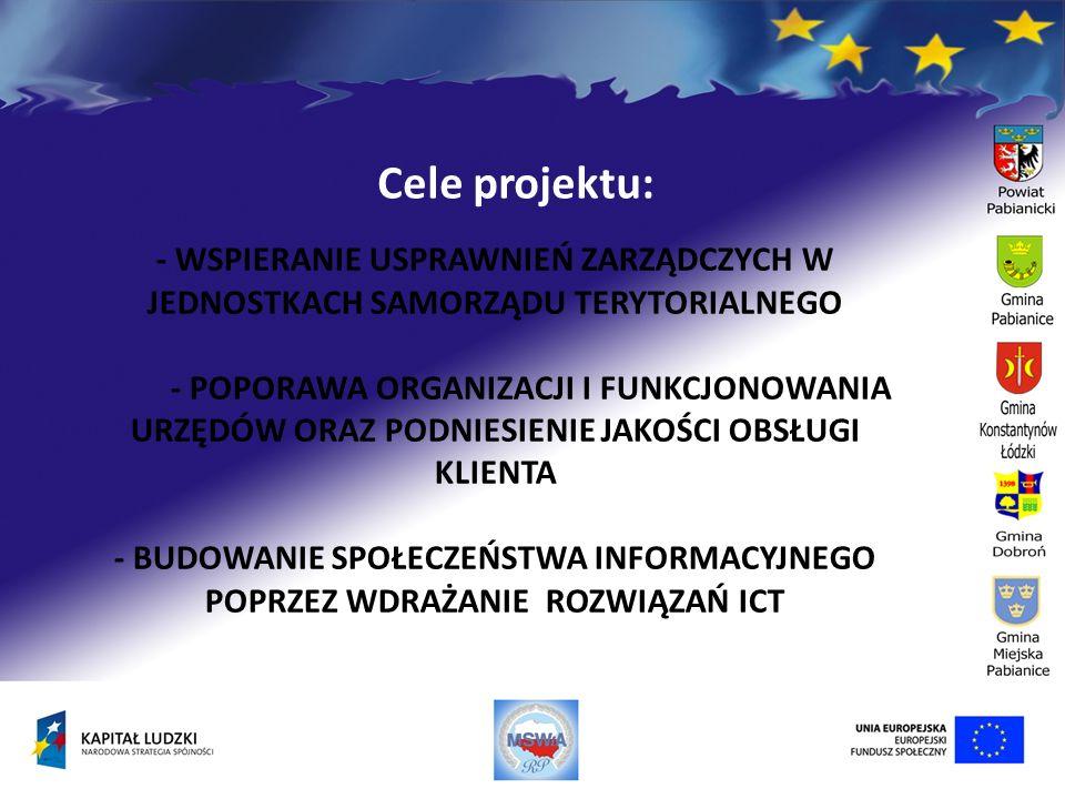 Cele projektu: - WSPIERANIE USPRAWNIEŃ ZARZĄDCZYCH W JEDNOSTKACH SAMORZĄDU TERYTORIALNEGO - POPORAWA ORGANIZACJI I FUNKCJONOWANIA URZĘDÓW ORAZ PODNIES