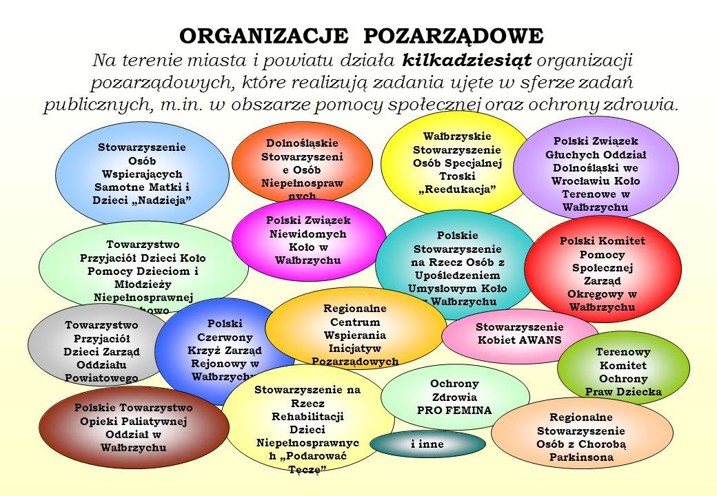 ORGANIZACJE POZARZĄDOWE Na terenie miasta i powiatu działa kilkadziesiąt organizacji pozarządowych, które realizują zadania ujęte w sferze zadań publi