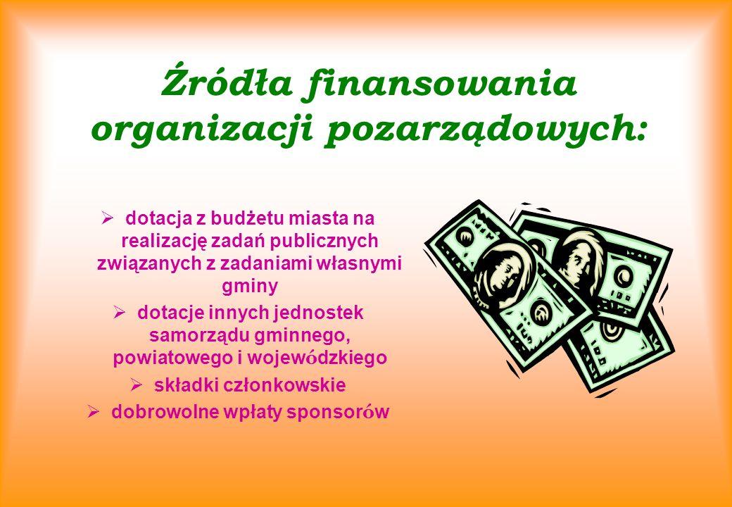Źródła finansowania organizacji pozarządowych: dotacja z budżetu miasta na realizację zadań publicznych związanych z zadaniami własnymi gminy dotacje