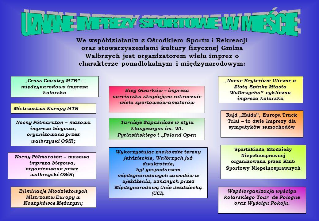We współdziałaniu z Ośrodkiem Sportu i Rekreacji oraz stowarzyszeniami kultury fizycznej Gmina Wałbrzych jest organizatorem wielu imprez o charakterze