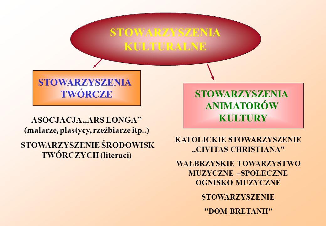 STOWARZYSZENIA KULTURALNE STOWARZYSZENIA TWÓRCZE ASOCJACJA ARS LONGA (malarze, plastycy, rzeźbiarze itp..) STOWARZYSZENIE ŚRODOWISK TWÓRCZYCH (literac