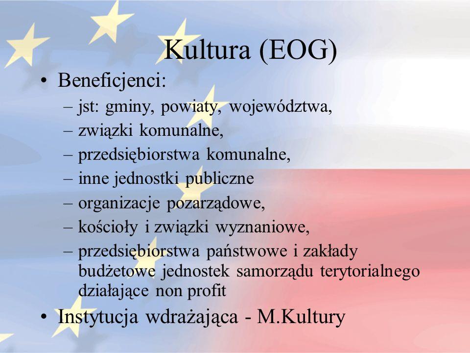 Kultura (EOG) Beneficjenci: –jst: gminy, powiaty, województwa, –związki komunalne, –przedsiębiorstwa komunalne, –inne jednostki publiczne –organizacje