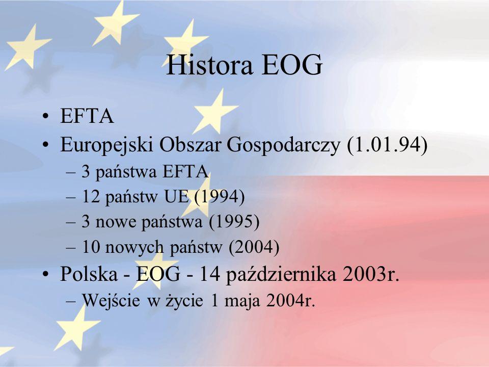 Histora EOG EFTA Europejski Obszar Gospodarczy (1.01.94) –3 państwa EFTA –12 państw UE (1994) –3 nowe państwa (1995) –10 nowych państw (2004) Polska -