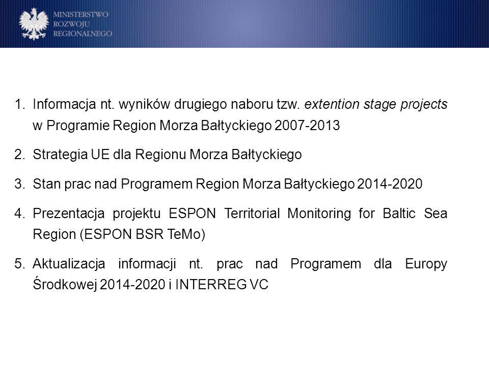 1.Informacja nt. wyników drugiego naboru tzw. extention stage projects w Programie Region Morza Bałtyckiego 2007-2013 2.Strategia UE dla Regionu Morza