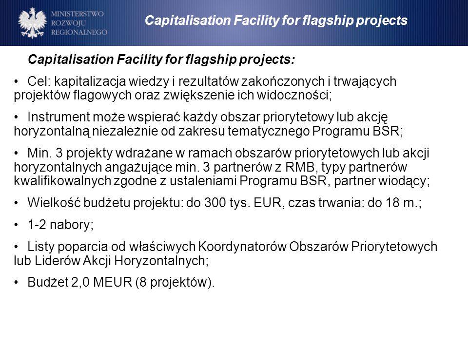 Capitalisation Facility for flagship projects: Cel: kapitalizacja wiedzy i rezultatów zakończonych i trwających projektów flagowych oraz zwiększenie i