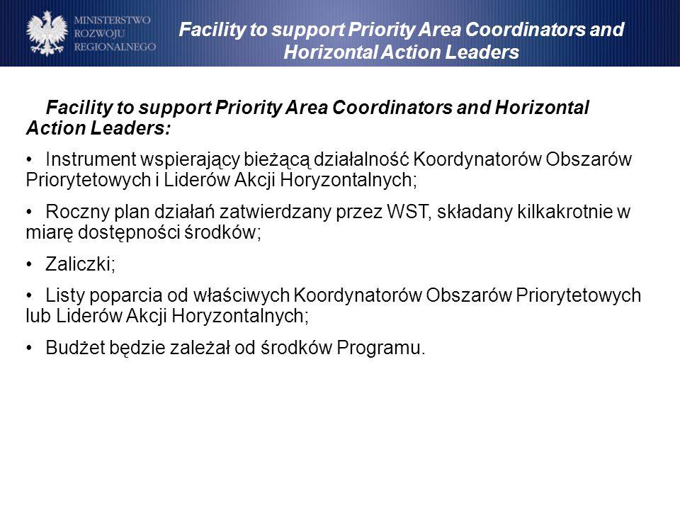 Facility to support Priority Area Coordinators and Horizontal Action Leaders: Instrument wspierający bieżącą działalność Koordynatorów Obszarów Priory