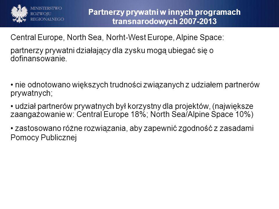 Central Europe, North Sea, Norht-West Europe, Alpine Space: partnerzy prywatni działający dla zysku mogą ubiegać się o dofinansowanie. nie odnotowano