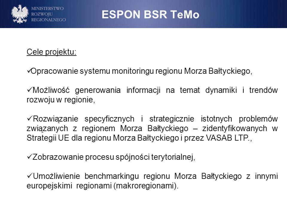 ESPON BSR TeMo Cele projektu: Opracowanie systemu monitoringu regionu Morza Bałtyckiego, Możliwość generowania informacji na temat dynamiki i trendów