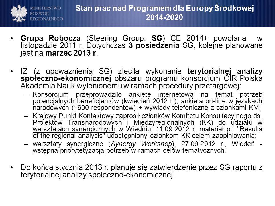 Stan prac nad Programem dla Europy Środkowej 2014-2020 Grupa Robocza (Steering Group; SG) CE 2014+ powołana w listopadzie 2011 r. Dotychczas 3 posiedz