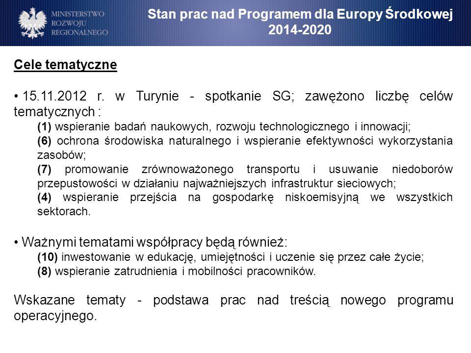 Stan prac nad Programem dla Europy Środkowej 2014-2020 Cele tematyczne 15.11.2012 r. w Turynie - spotkanie SG; zawężono liczbę celów tematycznych : (1