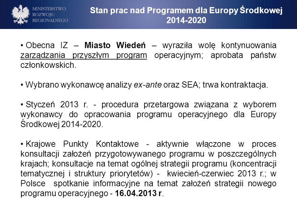 Stan prac nad Programem dla Europy Środkowej 2014-2020 Obecna IZ – Miasto Wiedeń – wyraziła wolę kontynuowania zarządzania przyszłym program operacyjn