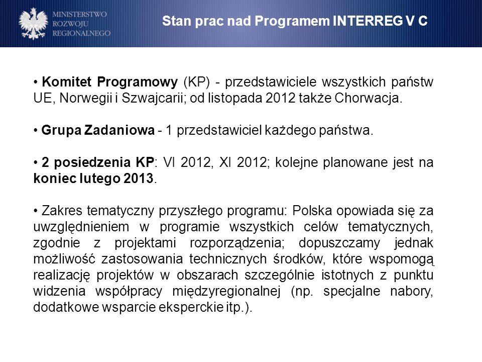 Stan prac nad Programem INTERREG V C Komitet Programowy (KP) - przedstawiciele wszystkich państw UE, Norwegii i Szwajcarii; od listopada 2012 także Ch