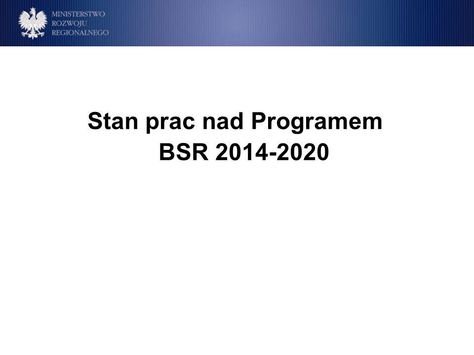 2009 – rozszerzono katalog beneficjentów kwalifikowalnych o organy ustanowione zgodnie z prawem publicznym lub prywatnym w konkretnym celu zaspokajania potrzeb w interesie ogólnym, nie mające charakteru przemysłowego lub handlowego i posiadające osobowość prawną – bez możliwości ubiegania się o rolę Partnera Wiodącego; NGOs (18% ٭ wszystkich partnerów Programu BSR stanowią partnerzy z finansowaniem prywatnym) Zaangażowanie partnerów prywatnych działających dla zysku: Mogą pełnić rolę organizacji stowarzyszonych bez możliwości otrzymania dofinansowania z EFRR Mogą być zaangażowani jako podwykonawcy, poprzez stowarzyszenia branżowe lub izby handlowe Mogą być zaangażowani i korzystać z osiągnięć projektów jako grupa docelowa lub użytkownicy końcowi ٭stan na X 2012 Partnerzy prywatni w bieżącym Programie BSR 2007-2013