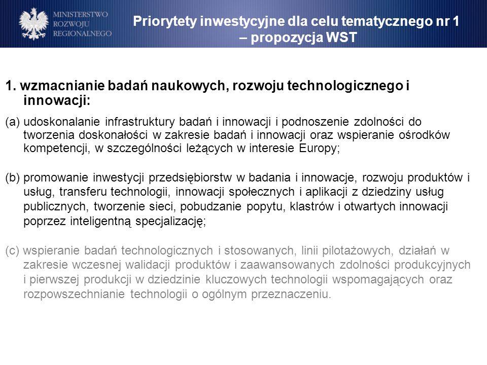 1. wzmacnianie badań naukowych, rozwoju technologicznego i innowacji: (a)udoskonalanie infrastruktury badań i innowacji i podnoszenie zdolności do two