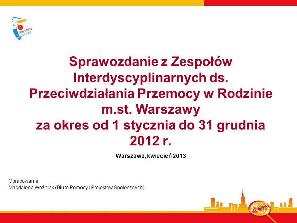 Sprawozdanie z Zespołów Interdyscyplinarnych ds. Przeciwdziałania Przemocy w Rodzinie m.st. Warszawy za okres od 1 stycznia do 31 grudnia 2012 r. Wars