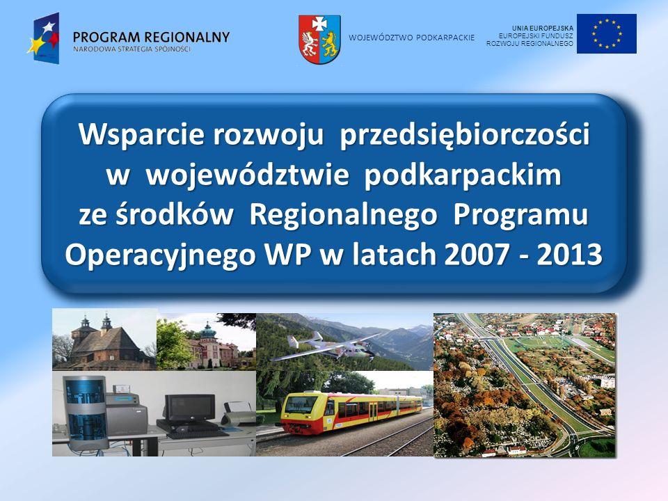 WOJEWÓDZTWO PODKARPACKIE Wsparcie rozwoju przedsiębiorczości w województwie podkarpackim ze środków Regionalnego Programu Operacyjnego WP w latach 200