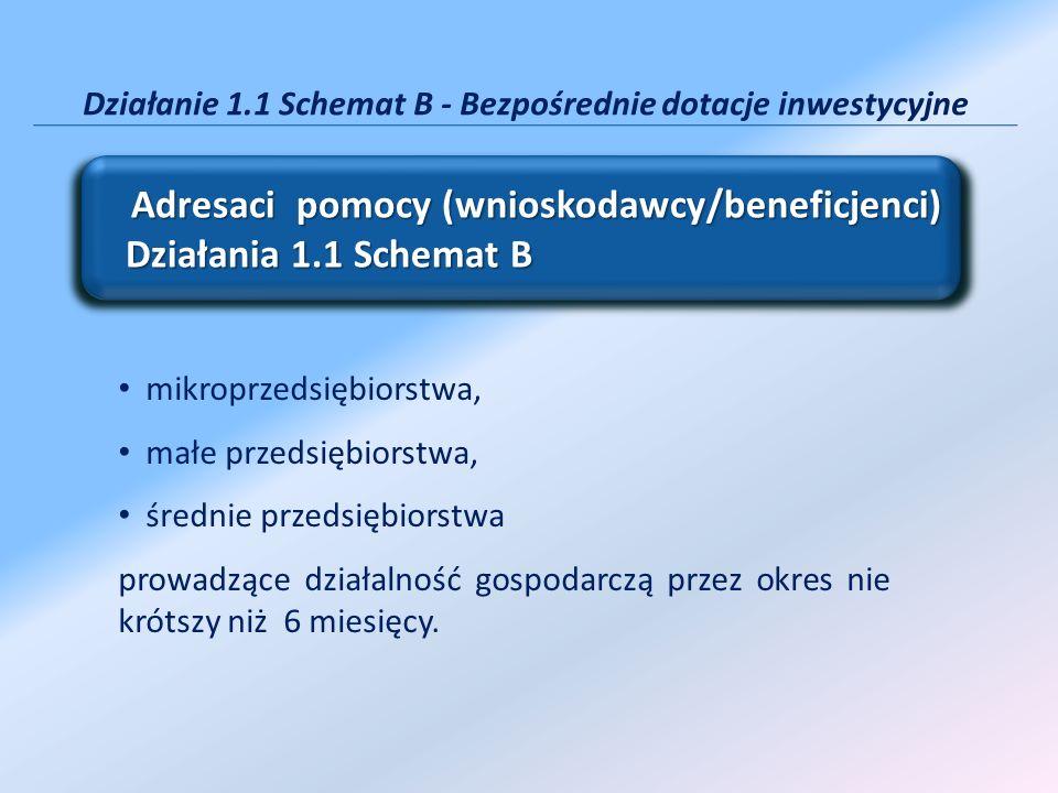 Działanie 1.1 Schemat B - Bezpośrednie dotacje inwestycyjne Adresaci pomocy (wnioskodawcy/beneficjenci) Działania 1.1 Schemat B Adresaci pomocy (wnios