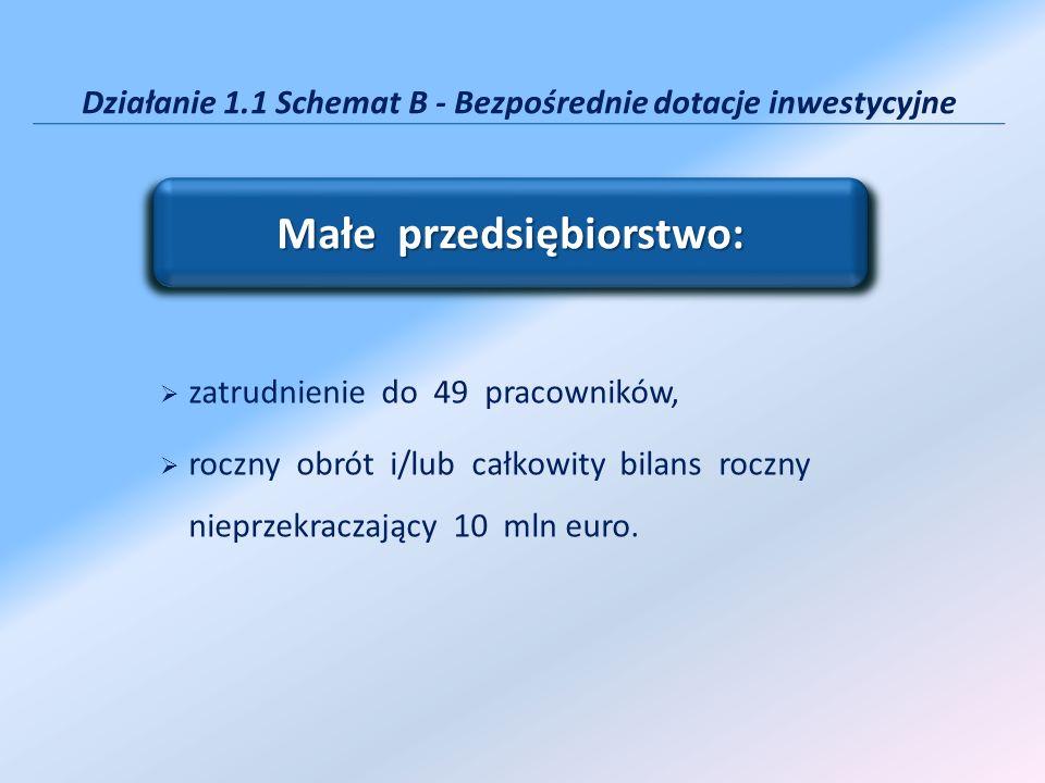 Działanie 1.1 Schemat B - Bezpośrednie dotacje inwestycyjne Małe przedsiębiorstwo: zatrudnienie do 49 pracowników, roczny obrót i/lub całkowity bilans