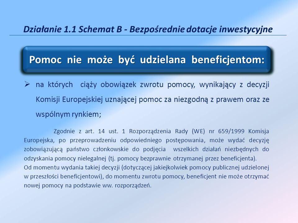 Działanie 1.1 Schemat B - Bezpośrednie dotacje inwestycyjne na których ciąży obowiązek zwrotu pomocy, wynikający z decyzji Komisji Europejskiej uznają