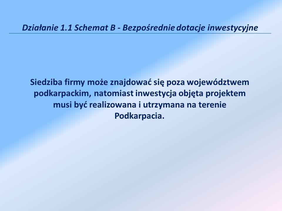 Działanie 1.1 Schemat B - Bezpośrednie dotacje inwestycyjne Siedziba firmy może znajdować się poza województwem podkarpackim, natomiast inwestycja obj
