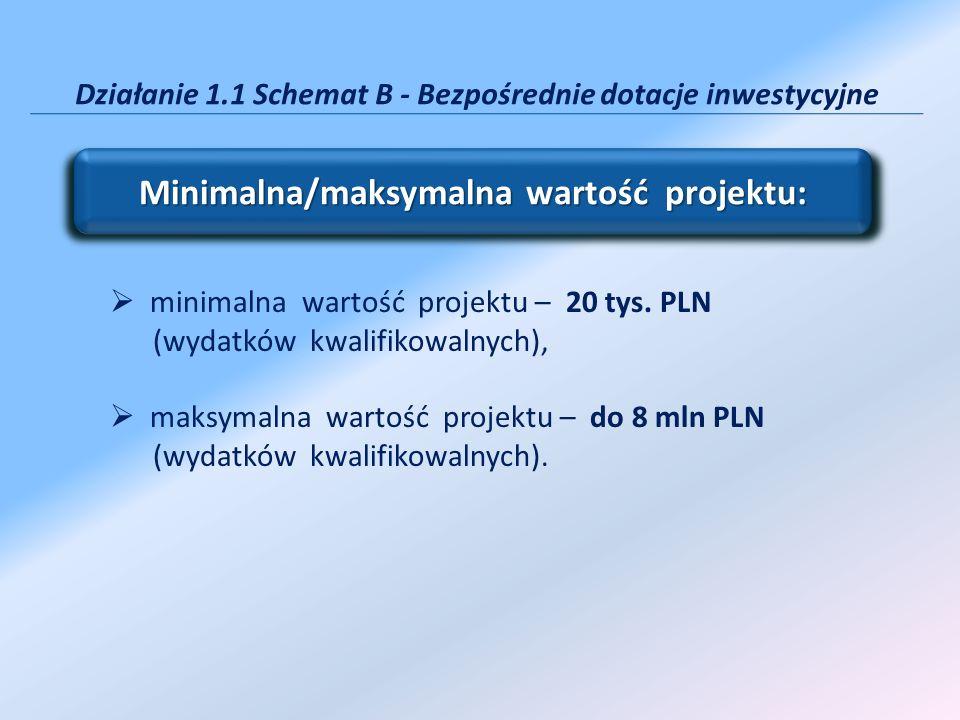 Działanie 1.1 Schemat B - Bezpośrednie dotacje inwestycyjne minimalna wartość projektu – 20 tys. PLN (wydatków kwalifikowalnych), maksymalna wartość p