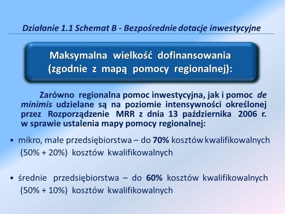 Zarówno regionalna pomoc inwestycyjna, jak i pomoc de minimis udzielane są na poziomie intensywności określonej przez Rozporządzenie MRR z dnia 13 paź