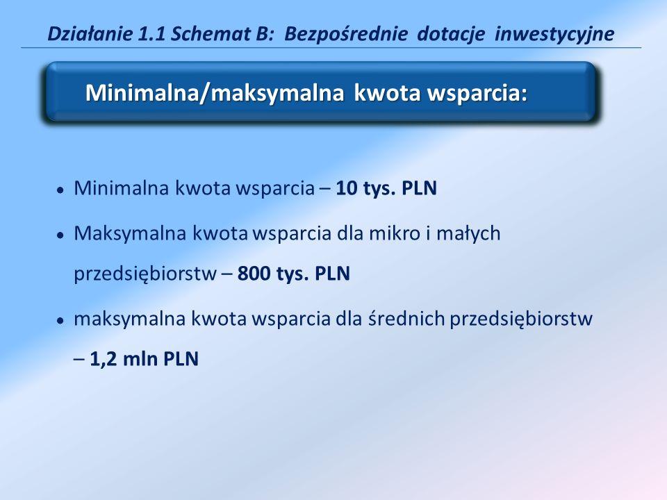Działanie 1.1 Schemat B: Bezpośrednie dotacje inwestycyjne Minimalna kwota wsparcia – 10 tys. PLN Maksymalna kwota wsparcia dla mikro i małych przedsi