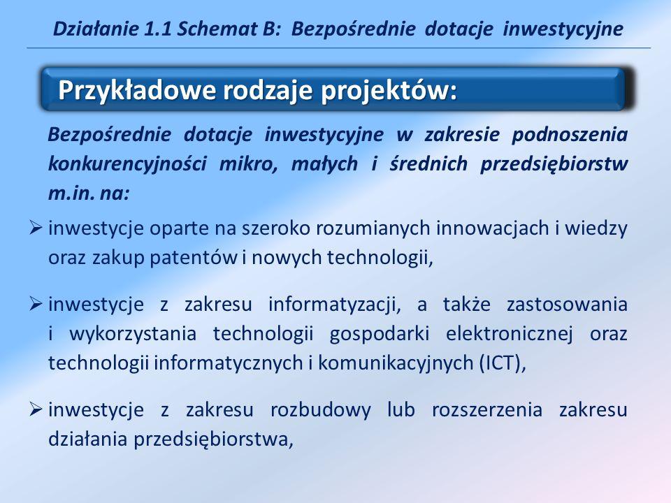 Działanie 1.1 Schemat B: Bezpośrednie dotacje inwestycyjne Bezpośrednie dotacje inwestycyjne w zakresie podnoszenia konkurencyjności mikro, małych i ś