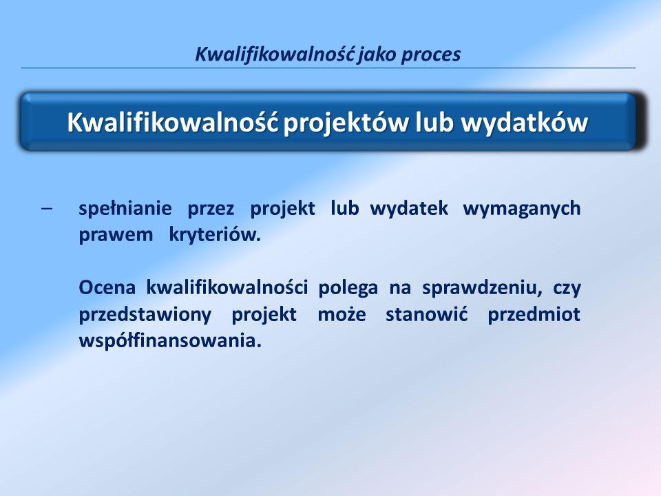 Kwalifikowalność projektów lub wydatków –spełnianie przez projekt lub wydatek wymaganych prawem kryteriów. Ocena kwalifikowalności polega na sprawdzen