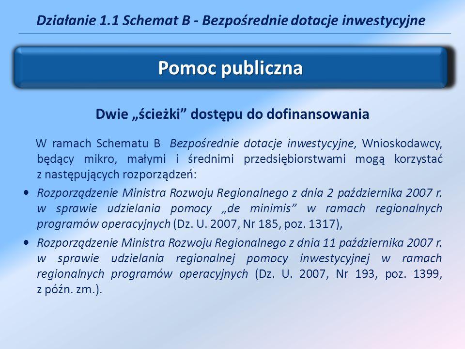 Działanie 1.1 Schemat B - Bezpośrednie dotacje inwestycyjne Dwie ścieżki dostępu do dofinansowania W ramach Schematu B Bezpośrednie dotacje inwestycyj