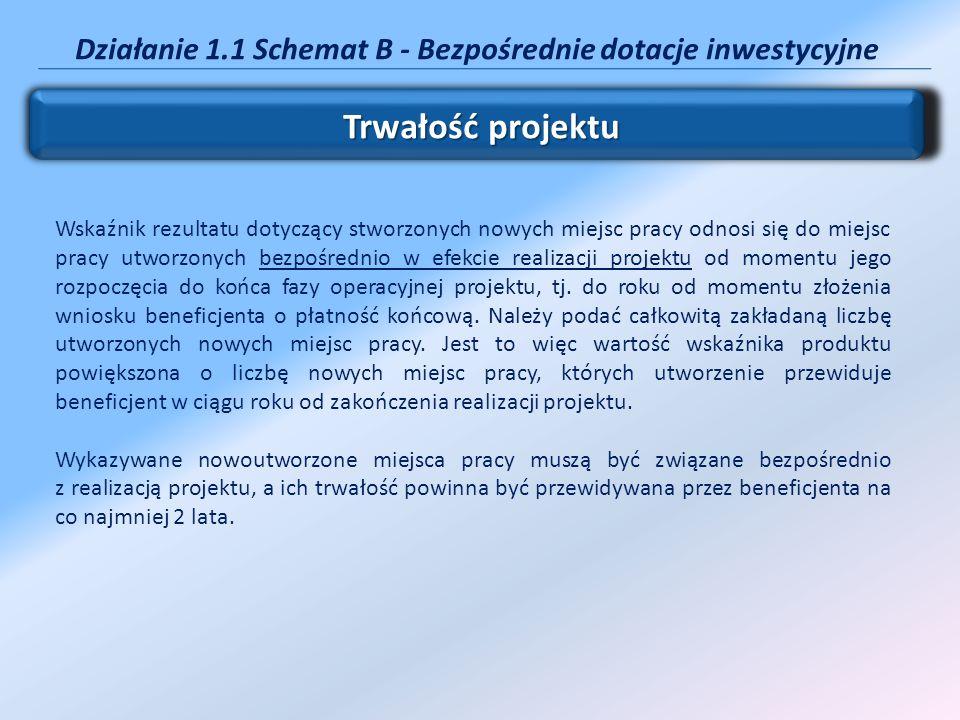 Działanie 1.1 Schemat B - Bezpośrednie dotacje inwestycyjne Trwałość projektu Wskaźnik rezultatu dotyczący stworzonych nowych miejsc pracy odnosi się