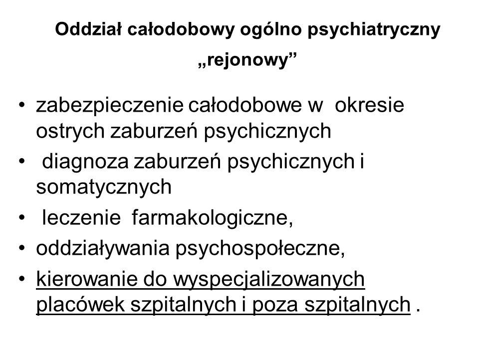 Oddział całodobowy ogólno psychiatryczny rejonowy zabezpieczenie całodobowe w okresie ostrych zaburzeń psychicznych diagnoza zaburzeń psychicznych i s
