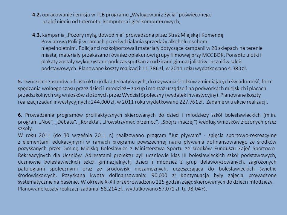 4.2. opracowanie i emisja w TLB programu Wylogowani z życia poświęconego uzależnieniu od Internetu, komputera i gier komputerowych, 4.3. kampania Pozo